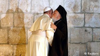 Papst Franziskus mit orthodoxem Patriarch Bartholomäus in Jerusalem 25.05.2014