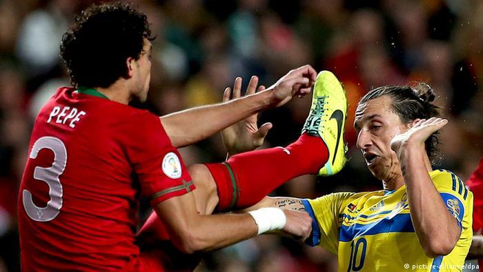 Fußball Pepe und Zlatan Ibrahimovic