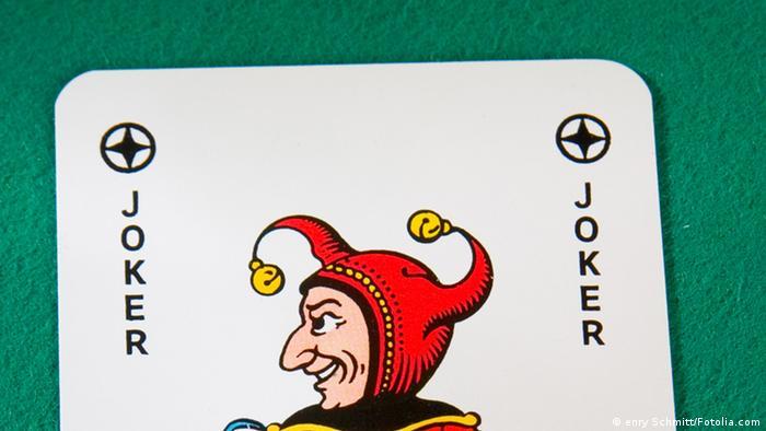 A joker from a deck of cards