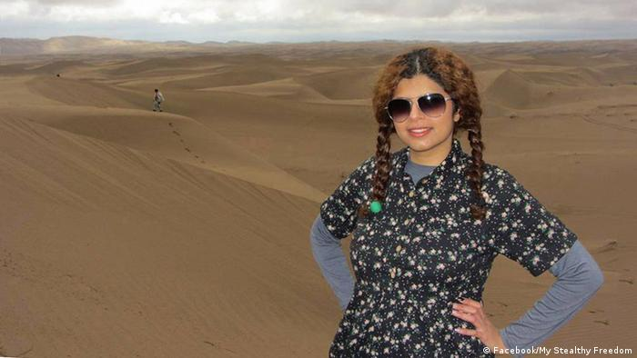 Woman without Hijab in the desert. (Photo: Facebook/ My Stealthy Freedom)