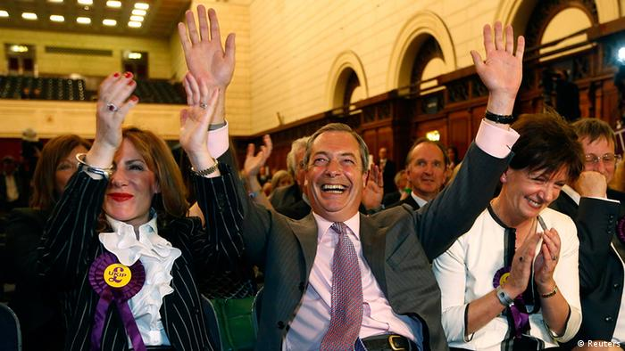 Nigel Farage celebrates with supporters