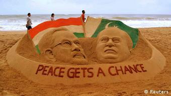 Indien Pakistan Beziehungen Amtseinführung Sandkunst