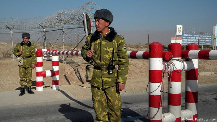 Tajik soldiers on the border with Afghanistan