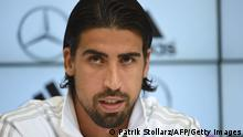 Germany´s midfielder Sami Khedira answers questions during a press conference of the German national football team on a training ground in San Martino in Passiria, Italy, on May 28, 2014. Germany's squad prepares for the upcoming FIFA World Cup 2014 in Brazil at a training camp in South Tyrol until May 31, 2014. AFP PHOTO / PATRIK STOLLARZ (Photo credit should read PATRIK STOLLARZ/AFP/Getty Images)
