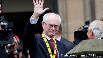 European Council President Herman Van Rompuy waves after receiving the International Charlemagne Prize in Aachen (Photo: AP/Frank Augstein)