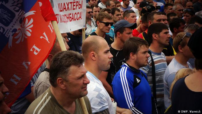Miners take part in an anti-Kyiv, pro-Russian rally in Donetsk.