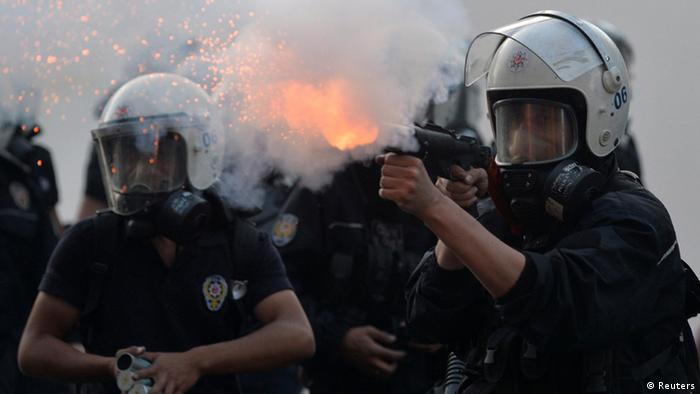 Turkish riot police seen at a demonstration last year. REUTERS/Stringer
