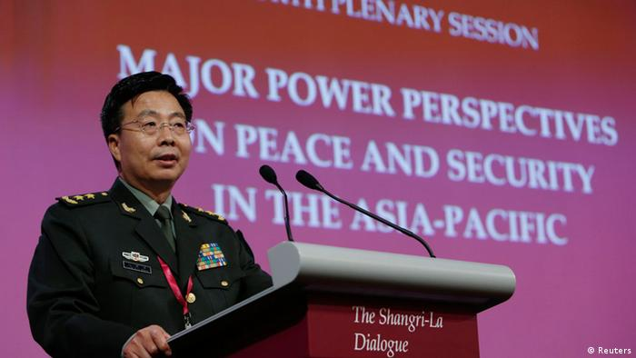 Deputy chief of staff of the Chinese Army Lieutenant-General Wang Guanzhong speaks during a plenary session at the 13th International Institute for Strategic Studies (IISS) Asia Security Summit: The Shangri-La Dialogue, in Singapore June 1, 2014. REUTERS/Edgar Su