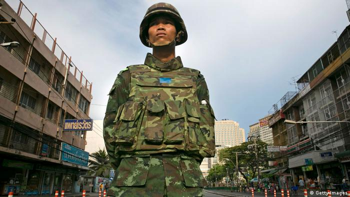 Thai military take over the streets surrounding the Victory Monument on May 30, 2014 in Bangkok, Thailand.