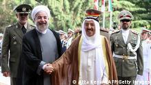 Emir von Kuwait, Scheich Sabah el Ahmed, mit iranischem Präsidenten Rohani