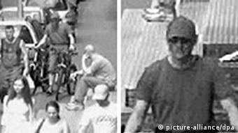 A picture combo left: a Video stand still in black-and-white with a man on a bicycle. right: a man with sunglases (Foto: DPA)