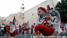Bagpipe musicians in Bethlehem