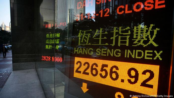 Hang Seng stocks index chart at the Hong Kong Stock Exchange
