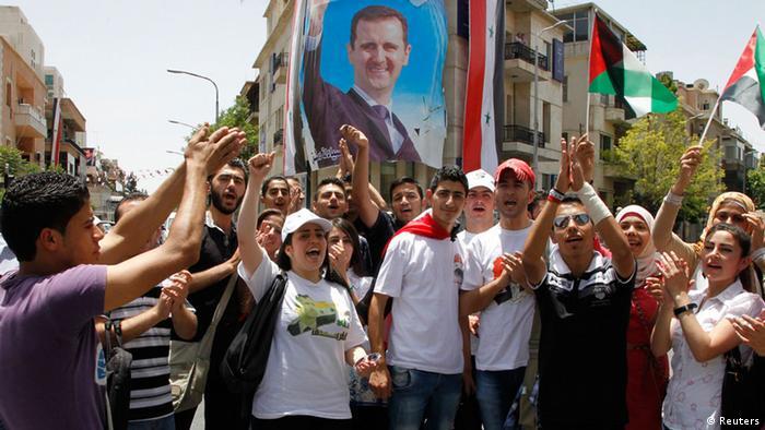 Syrien Assad gewinnt Präsidenschaftswahl Feier in Damaskus 03.06.2014