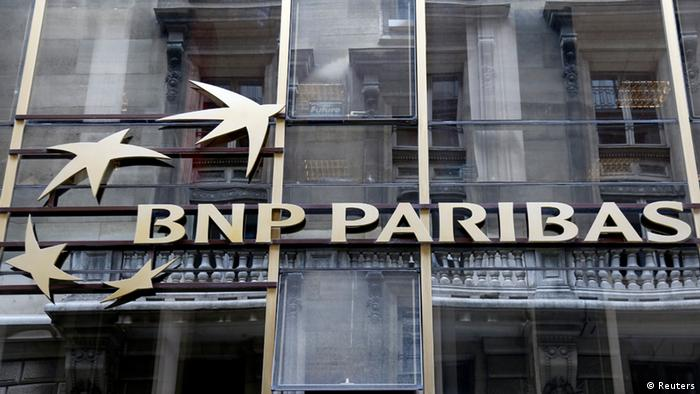 The logo of BNP Paribas is seen on the facade of the bank's building in Paris