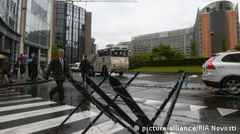 Schuman Square in Brussels, G7 security