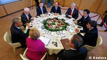 (L-R) U.S. President Barack Obama, European Council President Herman Van Rompuy, European Commission President Jose Manuel Barroso, France's President Francois Hollande, Canada's Prime Minister Stephen Harper, Japan's Prime Minister Shinzo Abe, Italy's Prime Minister Matteo Renzi, Britain's Prime Minister David Cameron and Germany's Chancellor Angela Merkel participate in a G7 leaders meeting at European Council headquarters in Brussels June 4, 2014. The world's leading industrialized nations meet without Russia for the first time in 17 years on Wednesday, leaving President Vladimir Putin out of the talks in retaliation for his seizure of Crimea and Russia's part in destabilizing eastern Ukraine. REUTERS/Yves Herman (BELGIUM - Tags: POLITICS TPX IMAGES OF THE DAY)
