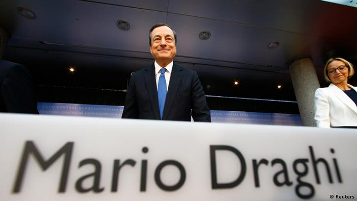 ECB President Mario Draghi at a press conference