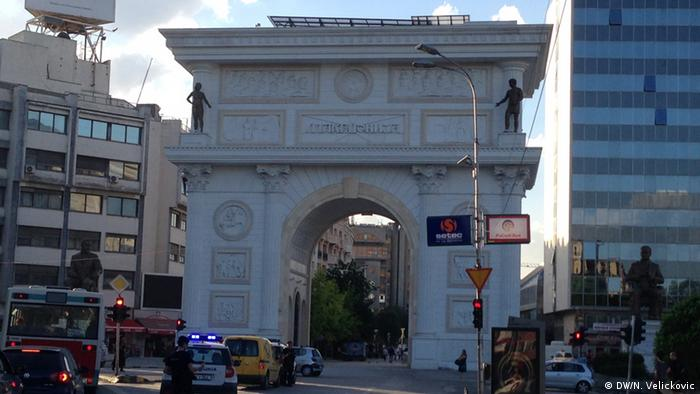 Skopje Bauwut im Stadtzentrum Mai 2014 (DW/N. Velickovic)