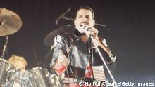 1984: Freddie Mercury (1946 - 1991), lead singer of 1970s hard rock quartet Queen, in concert. (Photo by Hulton Archive/Getty Images)