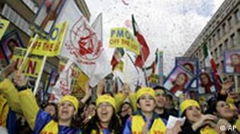 Supporters of an Iranian opposition group demonstrate outside the EU Council