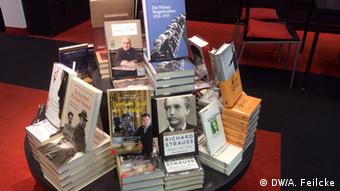 Table in a bookstore filled with books on Richard Strauss
