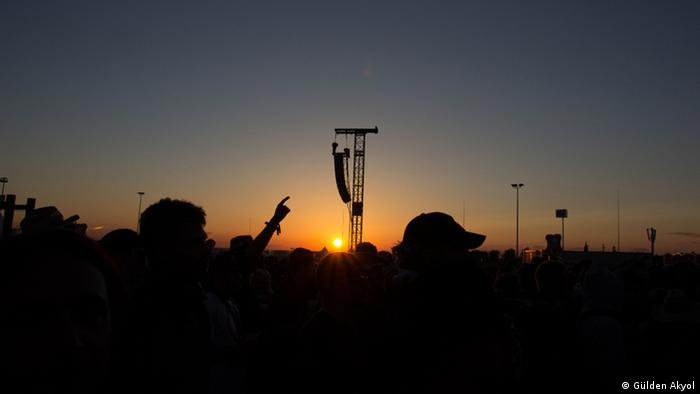 Silhouettes of Festival attendees