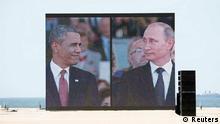 D-Day Feier 06.06.2014 Ouistreham Leinwand Obama und Putin