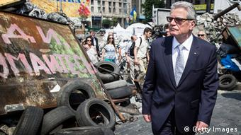 Bundespräsident Gauck auf dem Maidan in Kiew (Foto: Getty Images)