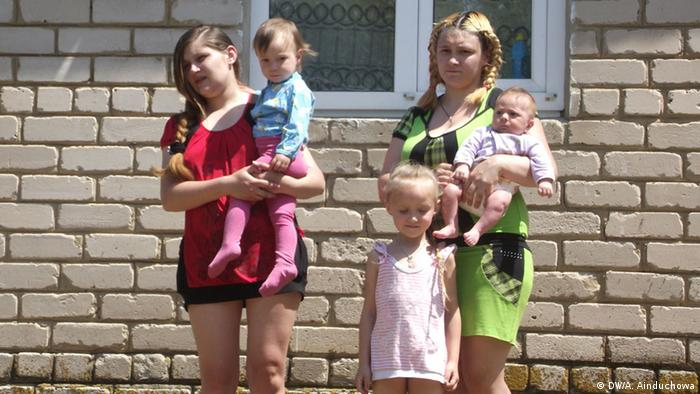 Refugees from eastern Ukraine with their children