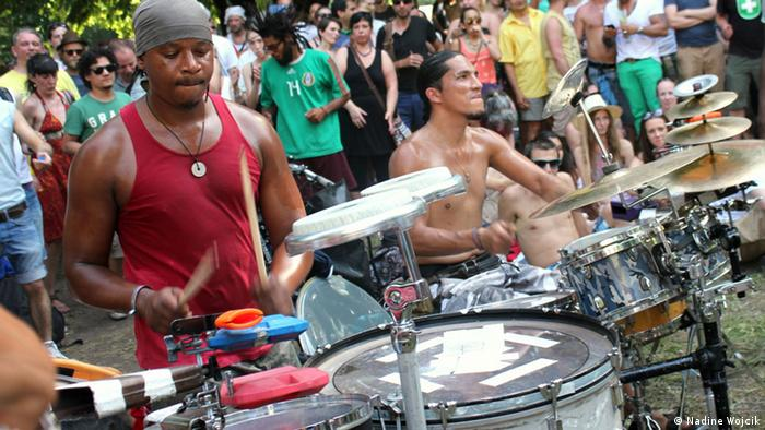 Drum circle Puto Production during a performance