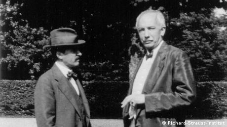 Richard Strauss, pictured in a black and White photo with Hugo von Hofmannsthal