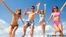 Young fun people enjoying summer on the beach. #62636861 Copyright: yanlev - Fotolia