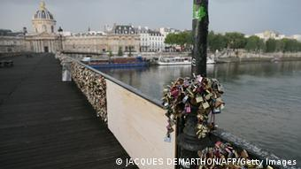 The section of railing on Paris' Pont des Arts Bridge that collapsed in June 2014, due to the weight of thousands of love locks.