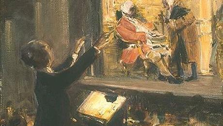 A painting shows Ernst Edler von Schuch conducting Strauss' Rosenkavalier