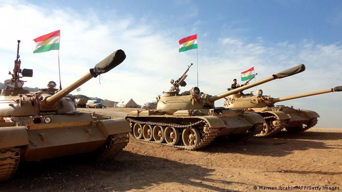 تانکهای ارتش اقلیم کردستان در نبرد با نیروهای داعش