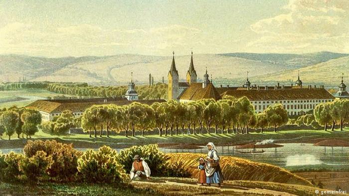 Бывший монастырь Корвей после секуляризации стал резиденцией знатного рода, владеющего им до сих пор. Картина 1857 года