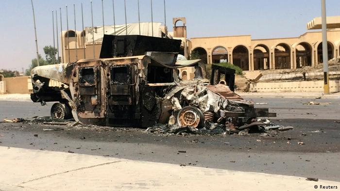 A burnt vehicle belonging to the Iraqi security Forces