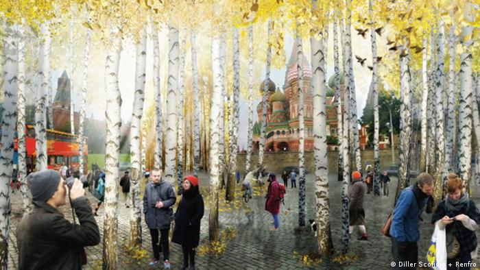 Rendering for the planned Zaryadye Park in Moscow by New York-based architects Diller Scofidio + Renfro, entrance from the Red Square, Copyright: Diller Scofidio + Renfro]