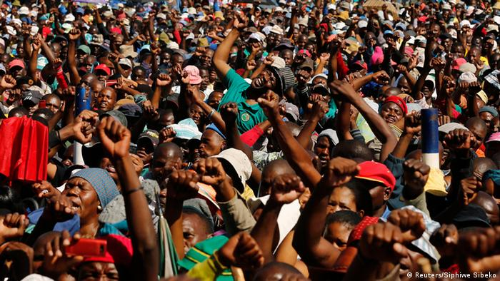Lonmin workers on strike in South Africa