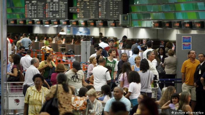 Passengers waiting for flights at Rio's international airport