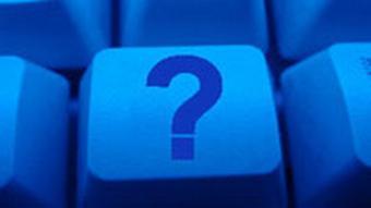 Tastatur blau mit Fragezeichen