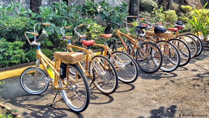 Bamboo bicycles parked in a row