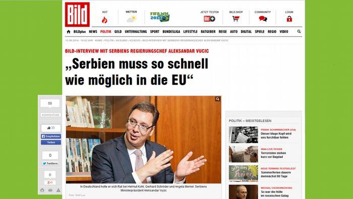 Screenshot Interview des serbischen Premierministers Vucic für Bild Zeitung