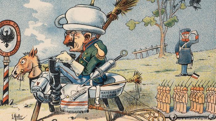 Вільгельм ІІ відправляється на війну - французька карикатура часів Першої світової війни