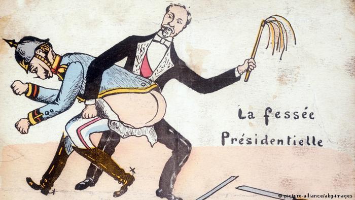 Карикатура часів Першої світової: Президент Франції Раймон Пуанкаре шмагає німецького кайзера Вільгельма ІІ