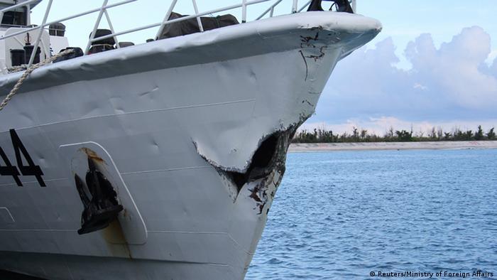 China Kriegsschiff Schaden nach dem Zusammenstoß am 03.05.2014