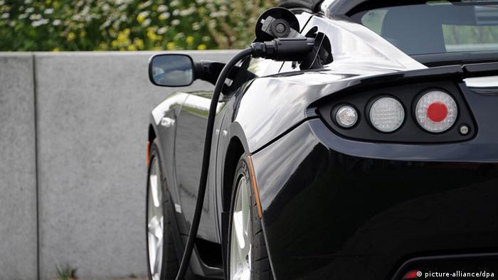 A Tesla electric car charging