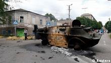 Separatisten Fahrzeug nach der Rückeroberung von Mariupol 13.06.2014