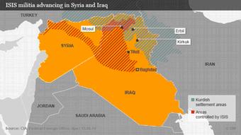 Τμήματα του Ιράκ και της Συρίας υπό τον έλεγχο των τζιχαντιστών